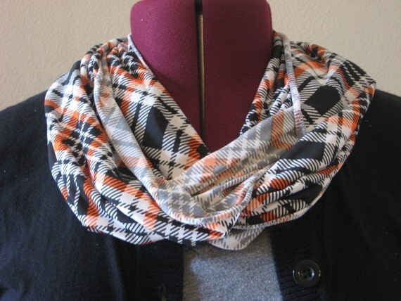 Infinity scarf plaid orange and black print