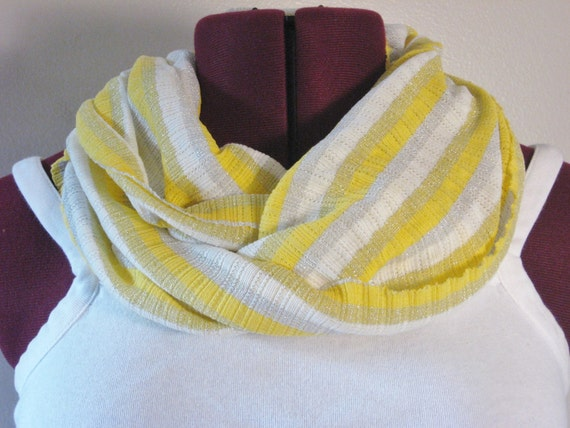 Infinity scarf in yellow sparkle, Fall Fashion
