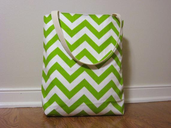 Small Beach Tote - Green Chevron Beach Bag - Water Resistant Lining