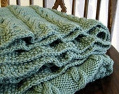 Knit Cable Afghan Blanket