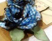 Wild Rose hair pins, blue checks