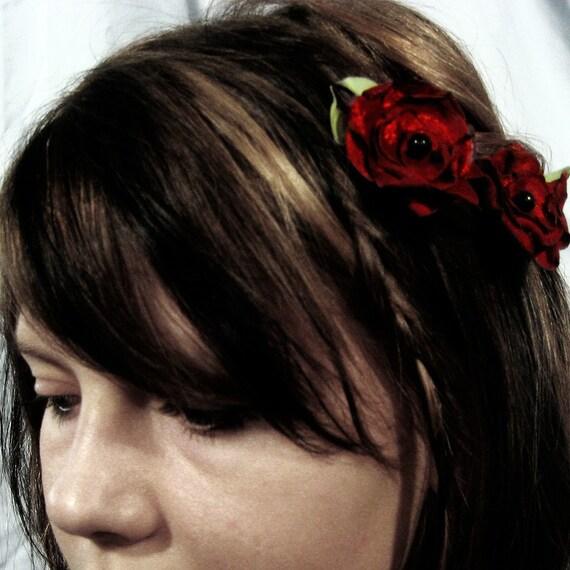 Wild Rose hair pins, red