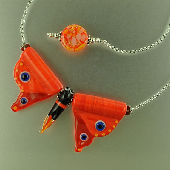 SALE - Handmade Glass Butterfly Necklace and Earring Bead Kit - Orange - Handmade Lampwork Beads by Puddy Tat Glass