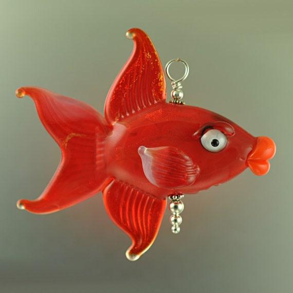 Handmade Glass Fish Bead Pendant - Orange Red - Handmade Lampwork by Puddy Tat Glass