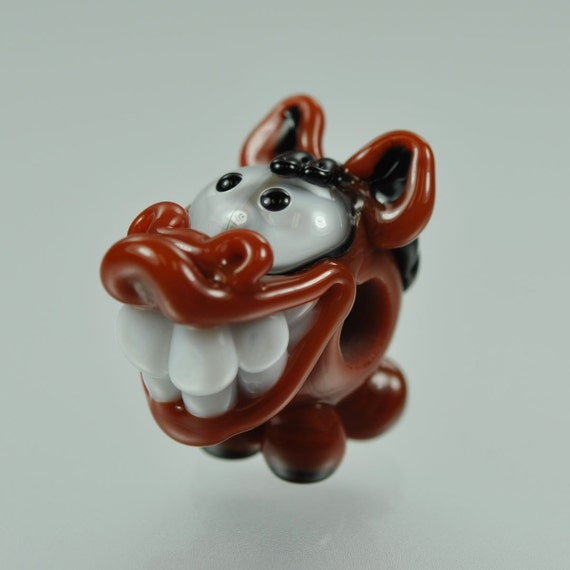 RESERVED for DebbieS - Lampwork Horse Big Hole Bead - Brown and Black - Handmade Lampwork by Puddy Tat Glass