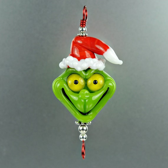 Christmas Grinch Lampwork Bead - Green and Red - Handmade Lampwork by Puddy Tat Glass