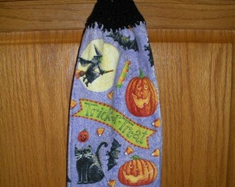 Trick or Treat Crochet Top Hanging Kitchen or Bath Towel