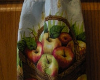 Country Apple Basket Crochet Top Hanging Towel