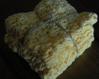 Yellow Cotton Crochet Dishcloths - Set of 2