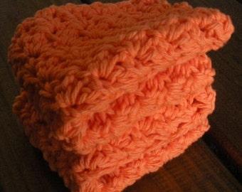 Orange Cotton Crochet Dishcloths - Set of 2