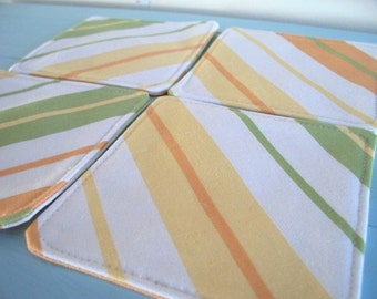 fabric coasters citrus stripes set of 4