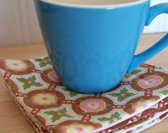 fabric drink coasters -  vintage fabric 4