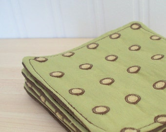 dotty green coasters set of 4