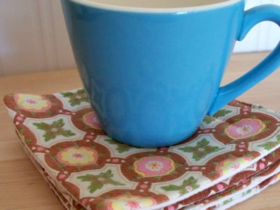 fabric drink coasters -  vintage fabric 4