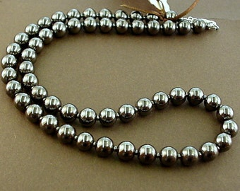 hematite necklace - gray bead necklace - round gray bead necklace - grey - hematite stone necklace - hematite jewelry - simple