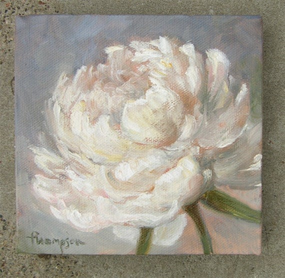 White peony flower small original oil painting for White canvas to paint