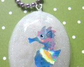 Purple Seahorse Resin Necklace