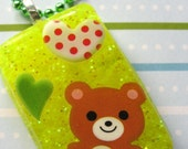 Happy Brown Bear Resin Necklace