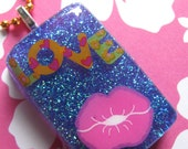 Valentines Day Love Lips Resin Necklace