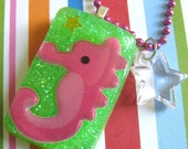 Seahorse Pink Resin Necklace