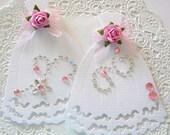 Wedding Dress Rose/Jewel Embellishments/Card Toppers-Pink-Set of 2
