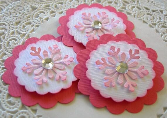 3 Handmade Christmas Snowflake Embellishments/Cupcake Toppers-Pink