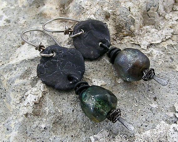 Urban Primitive Dragon Skin Pebble Earrings: Steel and Silvery Green Basha Beads