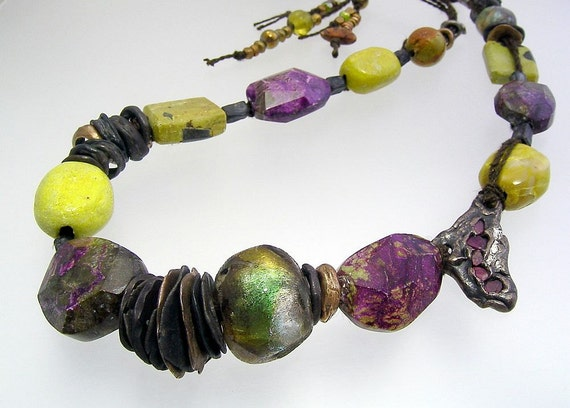 Urban Primitive Blessed Muse Necklace:  Steel, Bronze, Gemstone Nuggets and Basha Beads