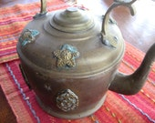 HUGE SALE-Vintage Brass Tea Pot with Detailing-SALE- Dot and Army