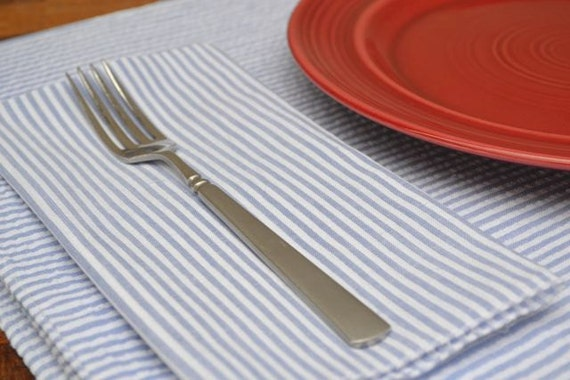 Seersucker Placemats, Set of Four, You Choose Color by Dot and Army