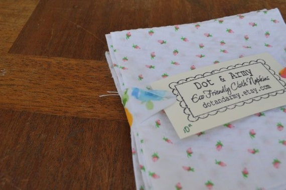 Eco Friendly Cloth Napkins, Set of 6-10 inch Sweet Pink Seersucker Rosebuds by Dot and Army