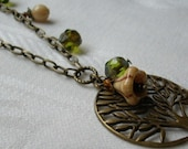 Tree of Life Brass Necklace Green Ivory Earth Tone(Free Shipping with Coupon Code Canada/USA)