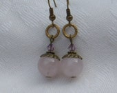 Rose Quartz SWEET DREAM Earrings with Swarovski Crystals, Antiqued brass