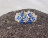 Blue Sapphire Swarovski  Crystal Hand Beadwork Ring