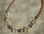 Freshwater Pearl Necklace Peridot Green Swarovski Crystal, Spring Wedding, Summer Bridal Necklace