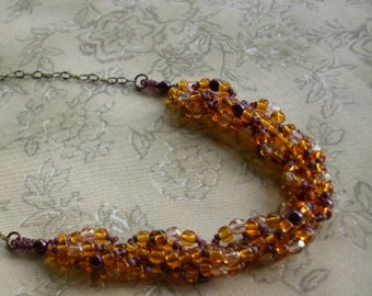 Beadwoven Topaz Plum Pearl Seed Bead Necklace GOLDEN AGE  Antiqued Brass Chain