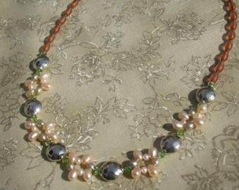 Freshwater Pearl Necklace Peridot Green Swarovski Crystal, Spring Wedding, Summer Bridal Necklace