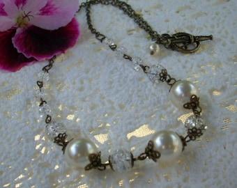 Swarovski Pearl Necklace, Antiqued Brass Heirloom/ Wedding