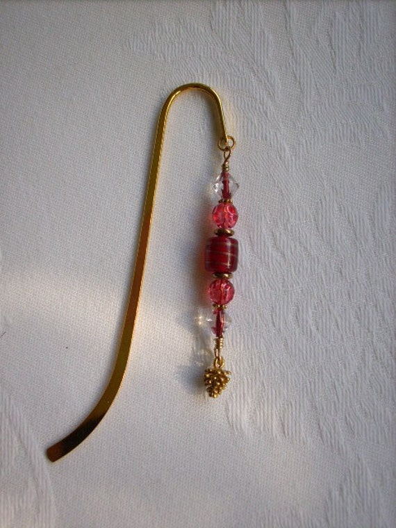 BOOKMARK Red Glass Beads with Golden Pinecone
