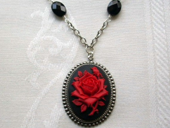 Red Rose Cameo Black Onyx Stone Necklace SALE