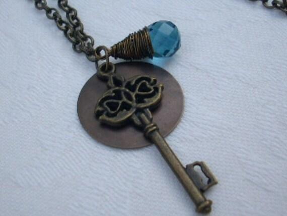Brass Skeleton Key Blue Quartz AMELIE Necklace