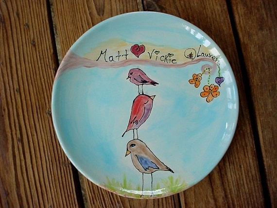You design custom family plate personalized birds bird plate new baby wedding anniversary new home gift adoption