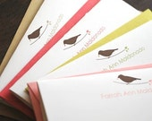 Personalized Bird Stationery Folded Cards - (variety pack) by Le Papier Studio