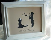 Personalized Siblings Silhouette Print 8x10 - available in different silhouette choices