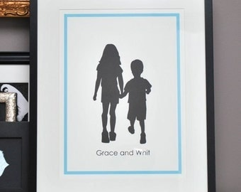 Siblings Silhouette Print - Nursery Art - Gift for Mom by Le Papier Studio