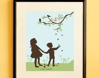 Children's Silhouette Art Print  Falling Leaves by Le Papier Studio