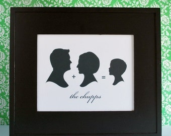 Family name print, family sign, Family Silhouette Print, family name art