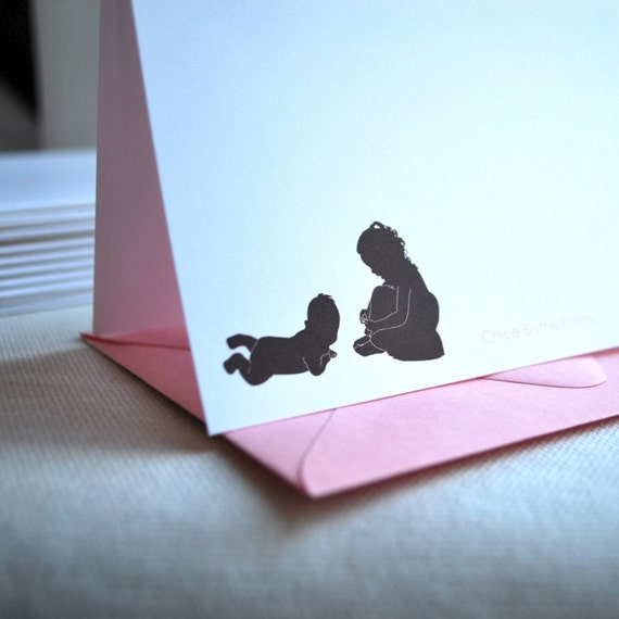 Personalized Stationery - Siblings Silhouettes - Gift for Mom - Family Silhouettes - Family Stationery - Classic Stationery