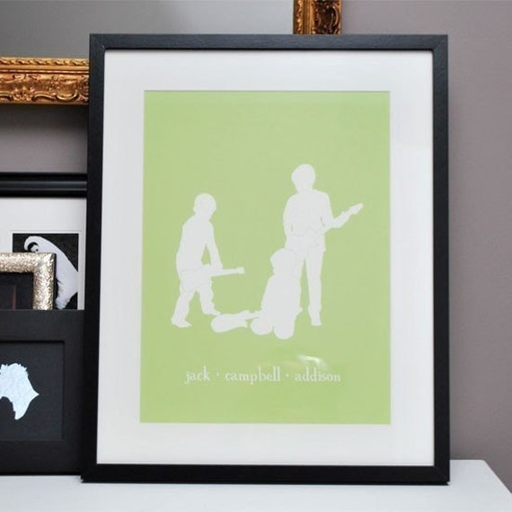 Custom Silhouettes - Siblings Room Decor - Personalized Nursery Fine Art Print, Name Print, Personalized Baby Name Sign
