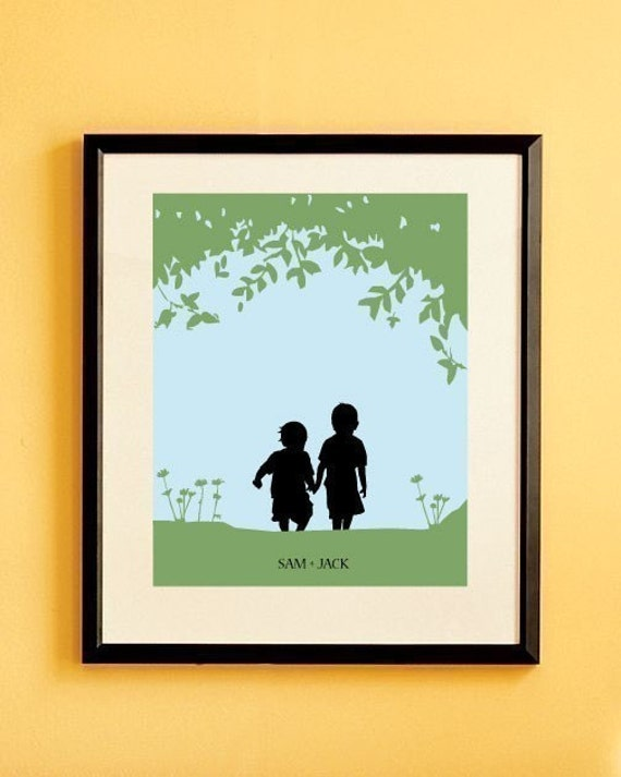 Children's Custom Silhouette Print - Siblings Silhouette, Boy, Girl, Room Decor, Walk with Me
